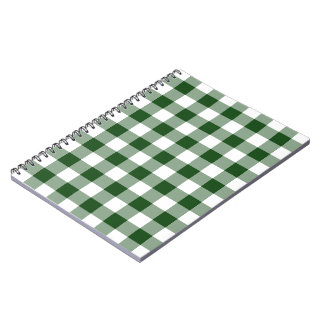Green and White Gingham Pattern Spiral Notebook