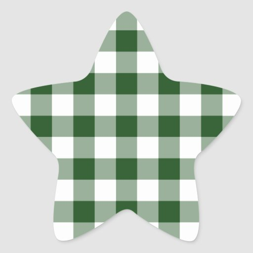 Green and White Gingham Pattern Star Sticker