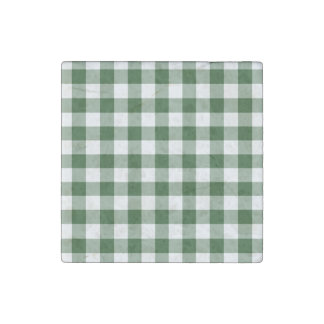 Green and White Gingham Pattern Stone Magnet