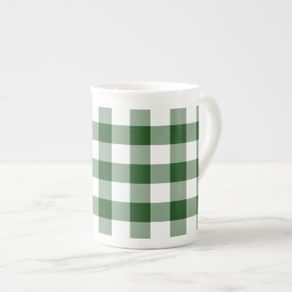 Green and White Gingham Pattern Tea Cup