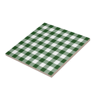 Green and White Gingham Pattern Tile