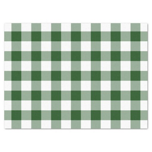 Green and White Gingham Pattern Tissue Paper