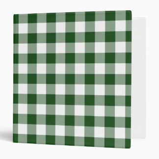 Green and White Gingham Pattern Vinyl Binder