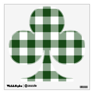 Green and White Gingham Pattern Wall Decal
