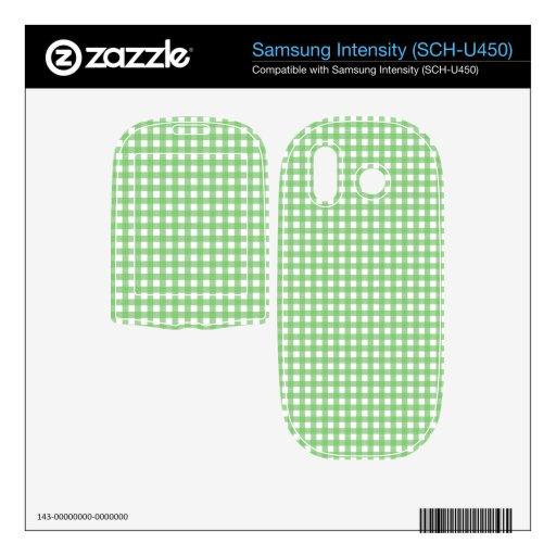 Green and White Gingham Samsung Intensity II Skin