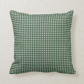 Green and White Gingham Throw Pillow