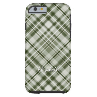 Green and white grayed jade muted green plaid tough iPhone 6 case