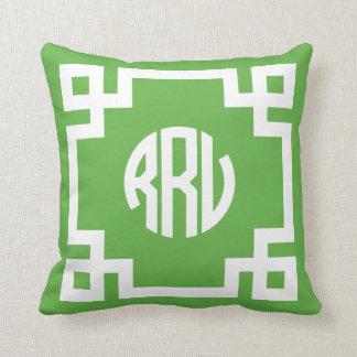 Green and White Greek Key Circle Monogram RRV Pillow