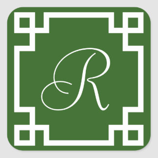 Green and White Greek Key Monogram Stickers