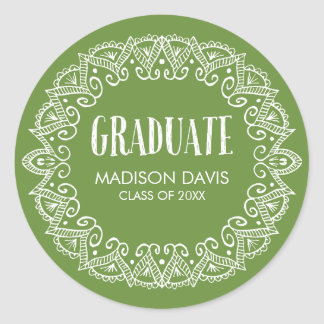 Green and White Gypsy Graduation Stickers