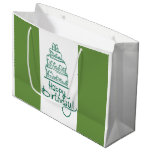 Green And White Happy Birthday Design Large Gift Bag