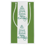 Green And White Happy Birthday Design Small Gift Bag