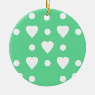 Green and White heart pattern Ceramic Ornament