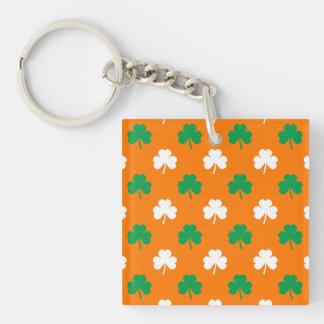 Green And White Heart-Shaped Shamrock On Orange Double-Sided Square Acrylic Keychain