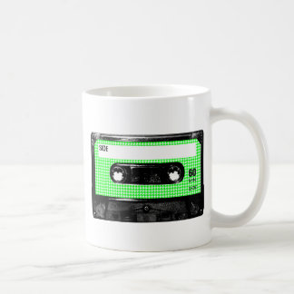 Green and White Houndstooth Label Cassette Coffee Mug