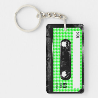 Green and White Houndstooth Label Cassette Keychain