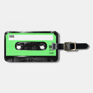 Green and White Houndstooth Label Cassette Bag Tag