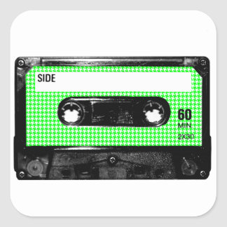 Green and White Houndstooth Label Cassette Square Stickers