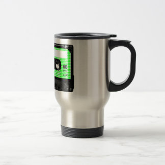 Green and White Houndstooth Label Cassette Travel Mug