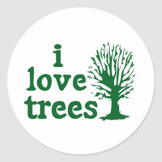 Green and White I Love Trees Sticker