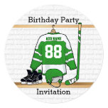 Green and White Ice Hockey Jersey Birthday Party Personalized Invitation