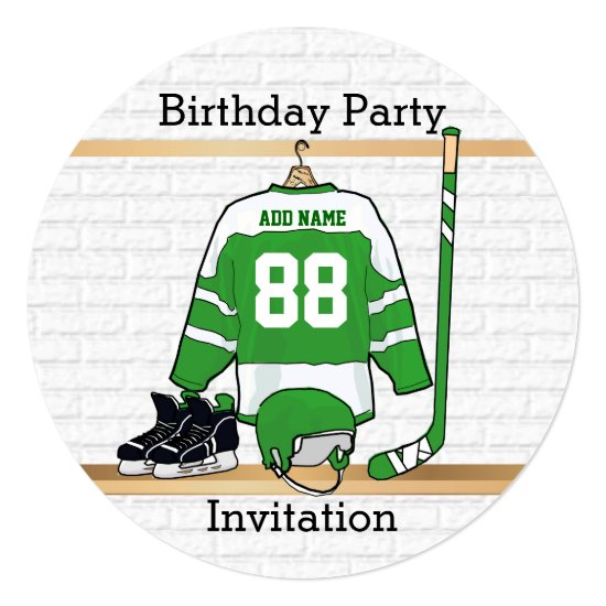 Green and White Ice Hockey Jersey Birthday Party Invitation