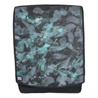 Green and White Ink on Black Background Backpack