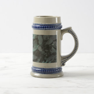 Green and White Ink on Black Background Beer Stein