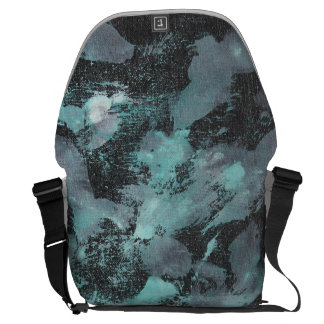 Green and White Ink on Black Background Messenger Bag