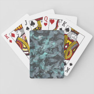 Green and White Ink on Black Background Playing Cards