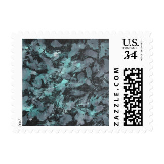 Green and White Ink on Black Background Postage