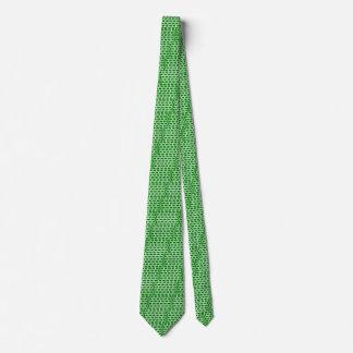 Green and White Jagged Bricks Tie