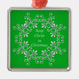 Green and White Keep Christ in Christmas Ornament Christmas Tree Ornament