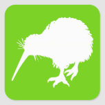 Green and White Kiwi Stickers
