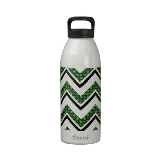 Green and White Lace Patterned Chevron Stripes Water Bottle