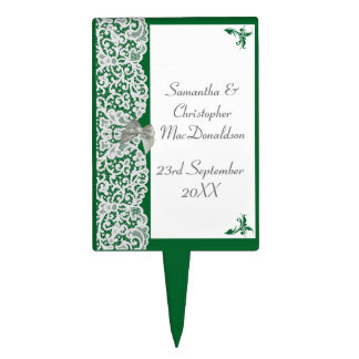 Green and white lace traditional lace wedding cake topper