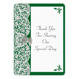 Green and white lace wedding thank you tag large business card