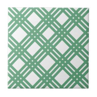 Green and White Lattice Ceramic Tile