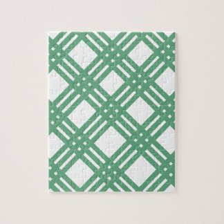Green and White Lattice Jigsaw Puzzle