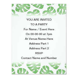 Green and White Leaf Pattern. 4.25x5.5 Paper Invitation Card