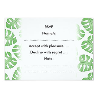 Green and White Leaf Pattern. 3.5x5 Paper Invitation Card