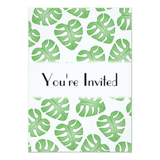 Green and White Leaf Pattern. 5x7 Paper Invitation Card