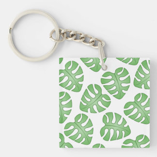 Green and White Leaf Pattern. Acrylic Keychains
