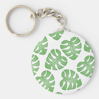 Green and White Leaf Pattern. Key Chains