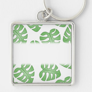 Green and White Leaf Pattern. Key Chain