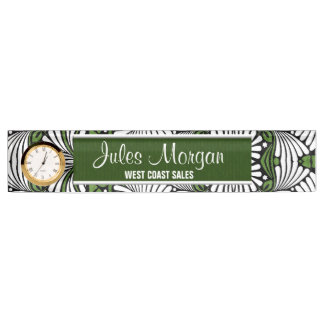 Green and White Leafy Fronds Desk Name Plate