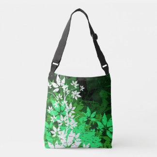 Green and White Leaves Grunge Crossbody Bag
