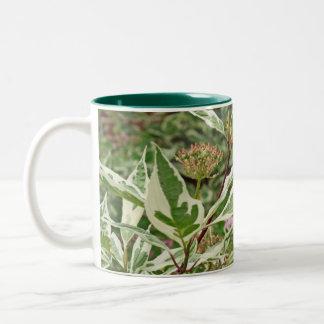 Green and White Leaves Mug