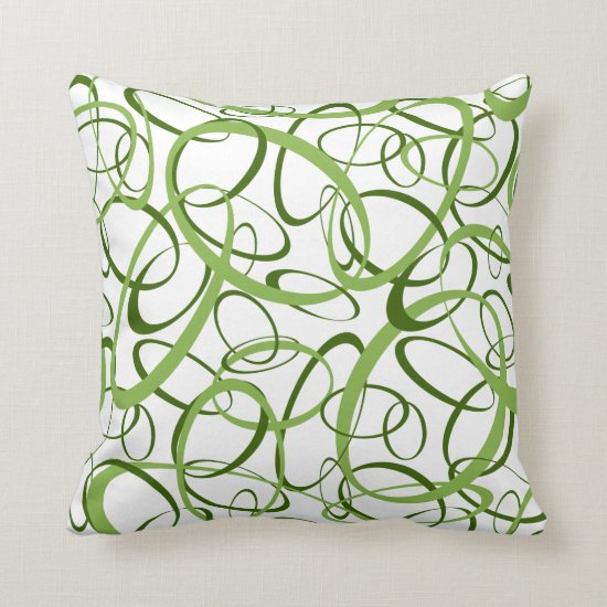 Green and white loopy abstract geometric pattern throw pillow