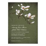 Green and White Magnolia Wedding Invitation